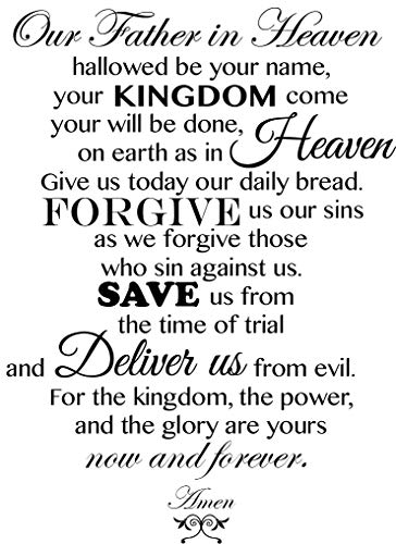 Newclew New The Lord's Prayer Our Father who Art in Heaven, Hallowed be Thy Name. Removable Wall Art Sayings Sticker Décor Decal Religious Church (Our Father In Heaven Hallowed Be Your Name)