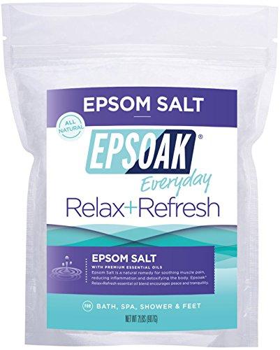 Epsoak Epsom Salt   Relax+Refresh - 2lb For Bath, Spa, Shower & Feet (Everyday Epsom Salts) ...