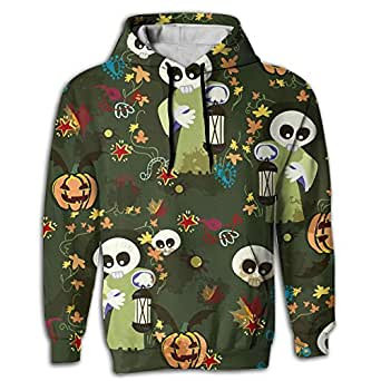Halloween Ghost Men's Novelty Cool Long Sleeve Hoodie Waterproof For Jogger Hoody