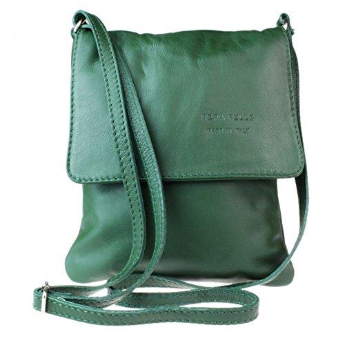 bag Leather Genuine Green body Dark Cross Italian Shoulder Vera Messenger bag Pelle Small HwFwT81q6