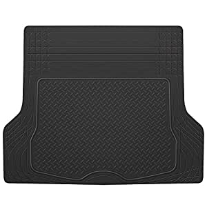 BDK Heavy Duty Rubber Cargo Floor Mat - All Weather Trunk Protection, Trimmable to Fit & Durable HD Rubber (Black)
