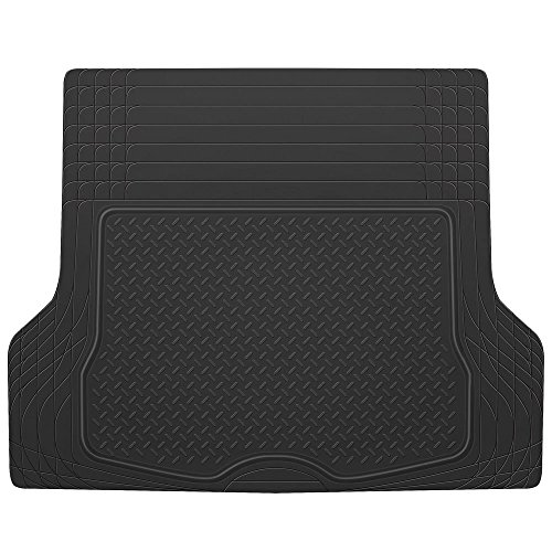 BDK MT-785-BK Black Heavy Duty Cargo Floor Mat-All Weather Trunk Protection, Trimmable to Fit & Durable HD Rubber ()