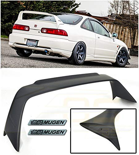 Extreme Online Store Replacement for 1994-2001 Acura Integra DC2 | Mugen Gen 1 Style ABS Plastic Primer Black Rear Trunk Lid Wing Spoiler with Mugen Black Emblem Pair