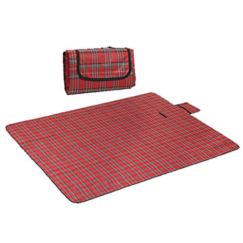 RealPero Large Outdoor Waterproof Picnic Blanket Foldable Handy Tote Bag Compact Plaid Washable Sand Proof Mat for Beach Travel Camping on Grass 6070 (Color 1)