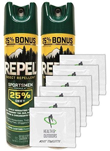 (REPEL Insect Repellent Aerosol BONUS Size - 8.125 oz Sportsmen Formula 25-Percent (25%) DEET, 2 Count + (6) Towelettes)