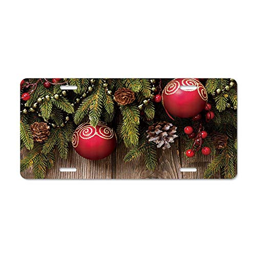 GRAETfpeoglsd Red Ball Natsugae Pine Cone Wooden Background Customized License Plate Cover Aluminum Metal Car Licenses Plate Frame Holder for US Vehicles
