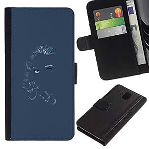 All Phone Most Case / Oferta Especial Cáscara Funda de cuero Monedero Cubierta de proteccion Caso / Wallet Case for Samsung Galaxy Note 3 III // Chalk Girl Art Blue Gray Grey Woman