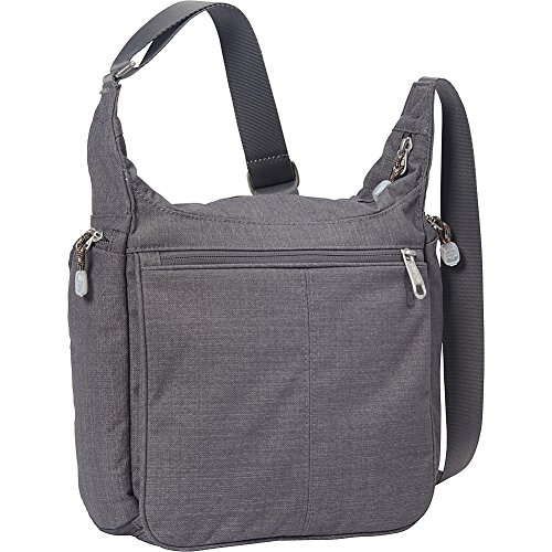 - eBags Piazza Daybag 2.0 with RFID Security - Small Satchel Crossbody for Travel, Work, Business - (Brushed Graphite)