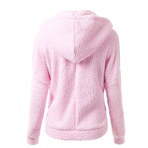 Algodón Rosado Cálida Cremallera Jersey Lana Mujeres Capucha Logobeing de Invierno Abrigo Con Suéter de de Abrigo 4xSqFgaw