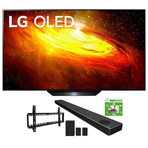 LG OLED55BXPUA 55-inch BX 4K Smart OLED TV with AI ThinQ (2020) Bundle SN11RG 7.1.4 ch High Res Audio Sound Bar + TaskRabbit Installation Services + Vivitar Low Profile Flat TV Wall Mount