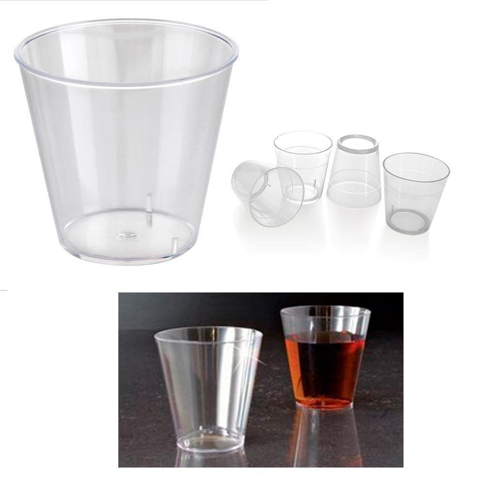 100 Clear Shot Glasses 2 oz Hard Plastic Disposable Cups Wine Party Catering Bar by Unknown