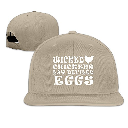 WICKED CHICKENS LAY DEVILED EGGS Adjustable Baseball - Rooster Leghorn Brown