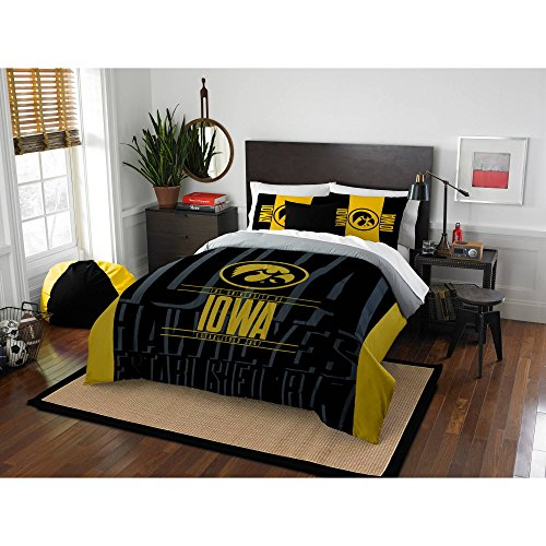 ity of Iowa Hawkeyes Comforter Full Queen Set, Sports Patterned Bedding, Team Logo, Fan Merchandise, Team Spirit, College Basket Ball Themed, Black Yellow, For Unisex ()