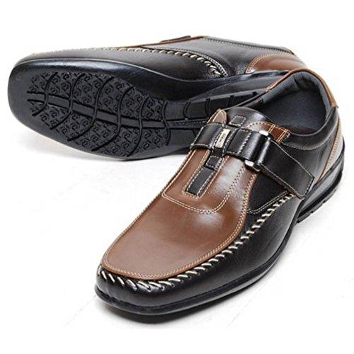 Epicstep Mens Casual In Pelle Scarpe Da Guida Moda Sneakers Oxford Mocassini Marrone Velcro