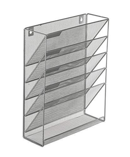 Denozer 6 Tier Wall Mount File Holder Organizer Hanging Magazine Rack,Silver