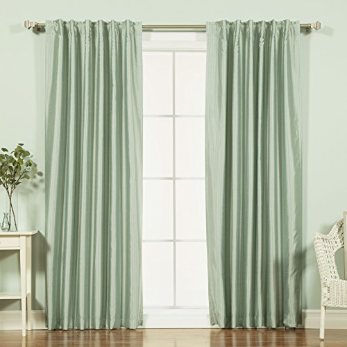 Best Home Fashion Faux Silk Candy Stripe Blackout Curtains – Backtab/Rod Pocket - Sage - 52