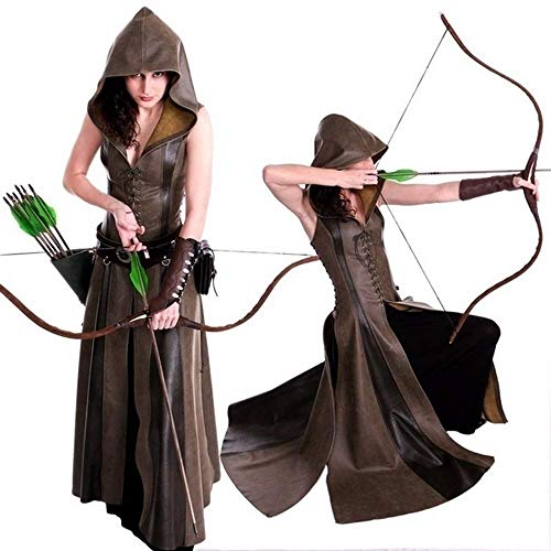 Women Cosplay Costume LovelySlim Lace Up Leather Medieval Ranger Dress Long Dress Sleeveless Dress Size XS-XXL -