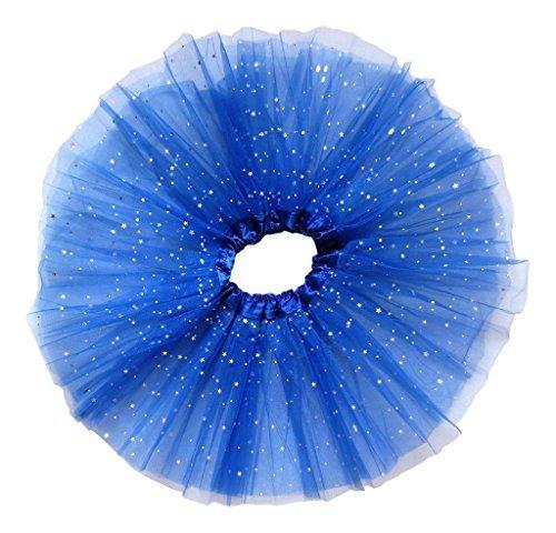 Losorn Kid Girls Dress Tutu Glitter Ballet Dress Triple Layer Soft Tulle Deep blue