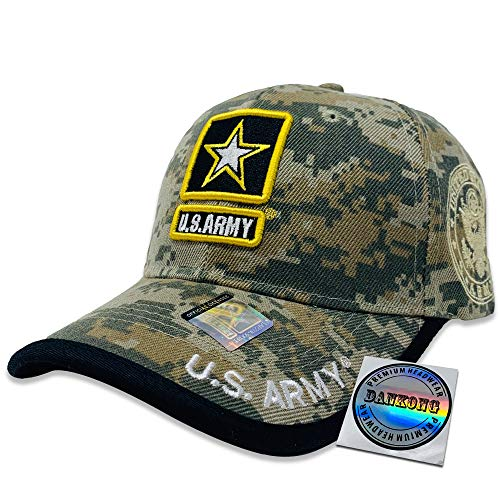 Ribbons Ball Cap - DANKONG Acrylic Military Hat - US Warriors Official Licensed Army Hat 3D Embroidered with Size Adjustable Hoop and Loop Closure for Men and Women - U.S.Army-Black Line-Green Camouflage
