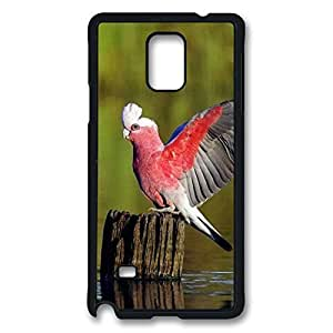 Note 4 Cases, Personalized Hard PC Black Case Cover for Samsung Galaxy Note 4 Red Body Blue Tail Birds