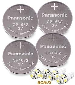 Panasonic ( 4 Pieces - CR1632 + 4 Bonus LED Bulbs ) Lithium Coin Cell Battery