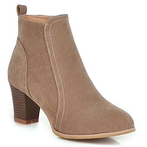 Comfortable Boots Beige Women's Ankle KingRover Closed Shoe Toe Zippered Western Faux Boot Suede 87F7q0w