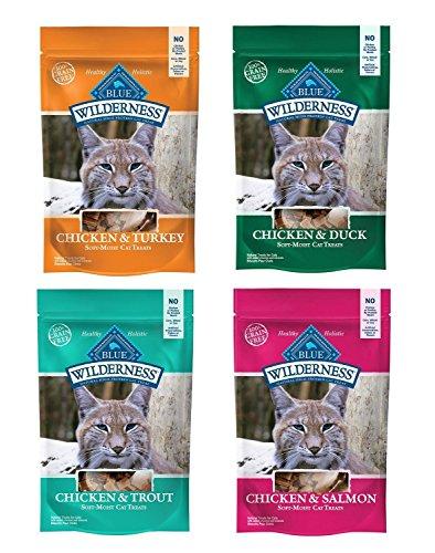 Blue Buffalo Wilderness Soft-Moist Grain-Free Cat Treats Variety Pack – 4 Flavors (Chicken & Duck, Chicken & Trout…