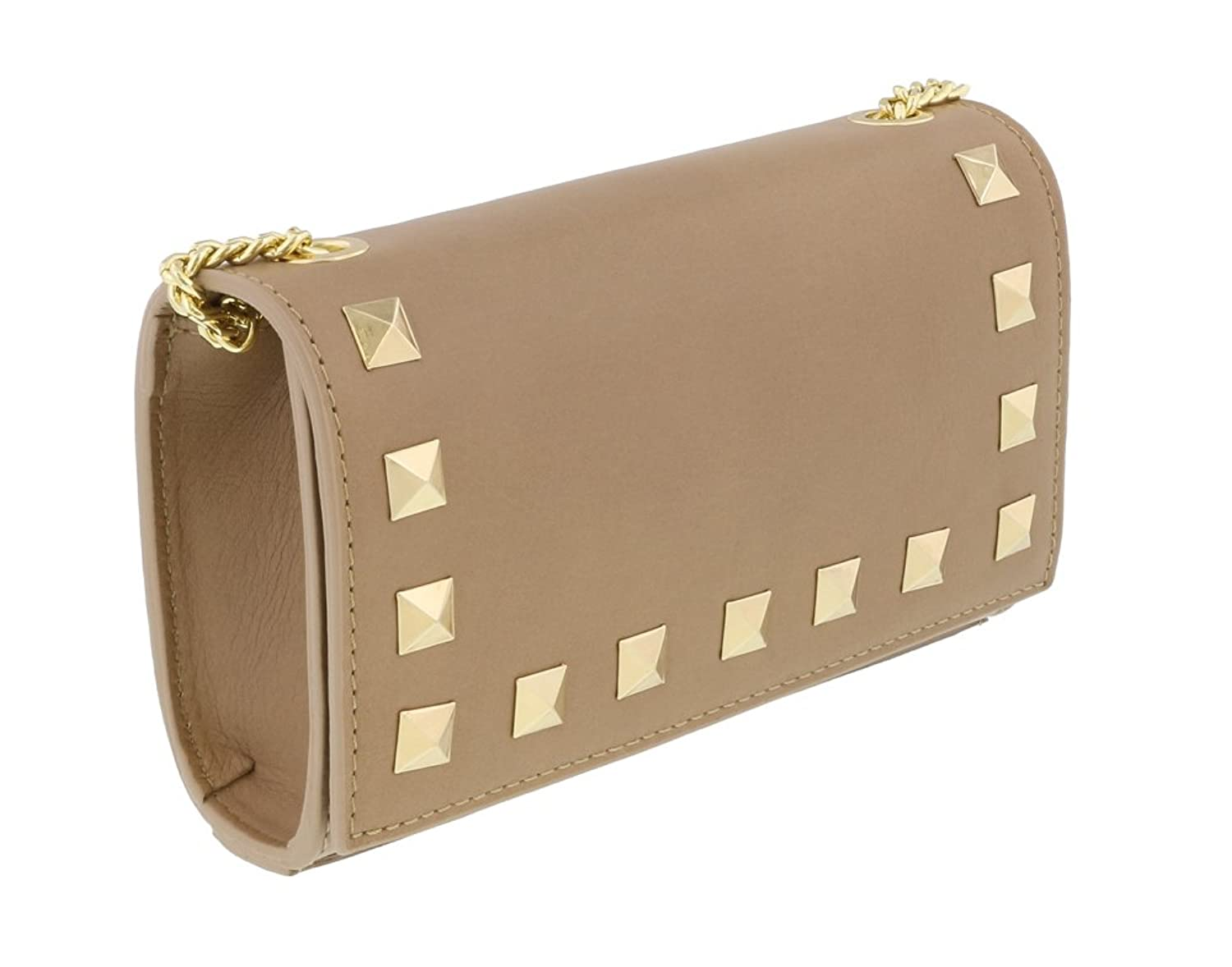 Scheilan Camel Leather Studded Mini Crossbody/Shoulder Bag