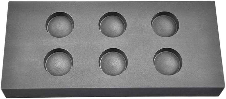 6 Cavity 2 oz Troy Ounce Round Gold Graphite Ingot Coin Mold for Melting Casting Refining Scrap Metal Jewelry