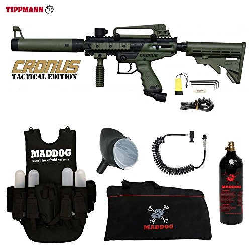Cheap MAddog Tippmann Cronus Tactical Paintball Lieutenant Paintball Gun Package – Black/Olive