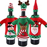 OurWarm 3pcs Christmas Wine Bottle Cover, Ugly Christmas Sweater Wine Bottle Cover for Holiday Christmas Party Decorations