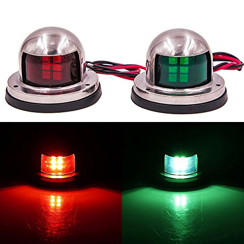 Mounteen One Pair 1-Mile LED Navigation Light: 12V Stainless Steel Deck Mount & Bow Side Safety Sailing Signal Lamp, Perfect For Boat, Yacht, Bimini, Marine And Pontoon - Green & Red