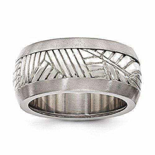 Edward Mirell Titanium & Sterling Silver Inlay High Polish Finish Leaf Design Wedding Band - Size 14 by Edward Mirell