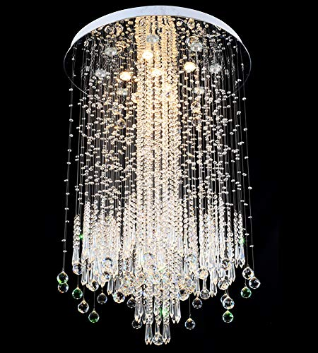 "NOXARTE Crystal Chandelier Top K9 Crystal Raindrop Chandelier Ceiling Light Flush Mount Ceiling lamp Round Plum Blossom Flower Shape Pendant Lamp Lighting Fixture for Hall Dining Room D31.5"" x H47"""