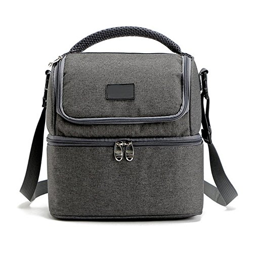 New Arrival Portable Lunch Box Bag Tote Hot Cold Insulated Thermal Cooler Travel Work School Picnic (Gray) (Tote Picnic Cooler Basket Bahamas)