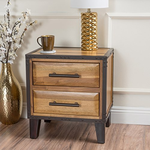 Christopher Knight Home 295304 Lina Acacia Wood Two Drawer Night Stand, Natural Stained