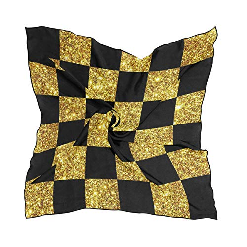 - Classic Gold Glitter Black Checkered Bandana Square Polyester Satin Neck Head Scarf Scarves Set Kerchief