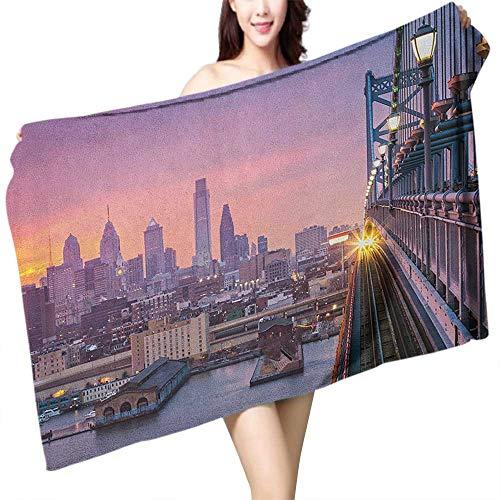 (flymeeo Printed Bath Towel American Philadelphia Under a Hazy Sunset Train on Vibrant Bridge Skyscrapers Landscape W31 xL63 Suitable for bathrooms, Beaches, Parties)