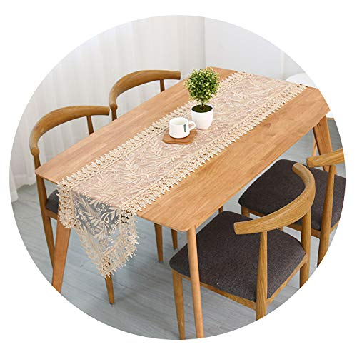 Best Lace Dining Table Runner Home Hotel Wedding Romantic Table Decoration Pastoral Leaves Embroidery Table Cloth,40200cm,2