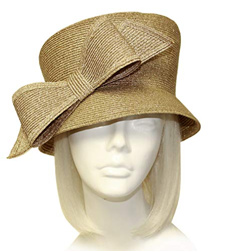 (Mr. Song Millinery Slant-Crown Cloche Hat with Bow - Antique Gold ST211)