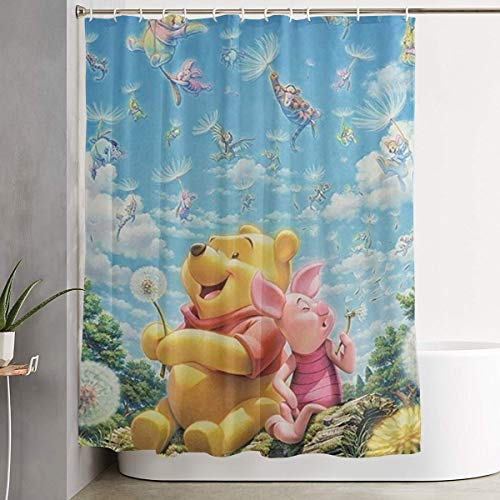 LIUYAN Shower Curtain with Hook - Winnie The Pooh Quotes Waterproof Polyester Fabric Bathroom Decor 60 X 72 Inches