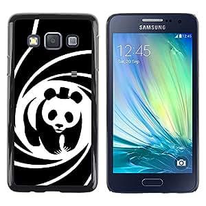 KOKO CASE / Samsung Galaxy A3 SM-A300 / panda sombrero de película oso espiral cartel lindo / Delgado Negro Plástico caso cubierta Shell Armor Funda Case Cover