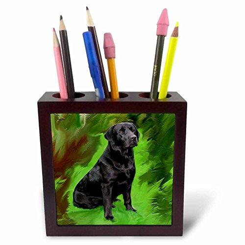 Black Labrador Porcelain - 3dRose ph_3892_1 Black Labrador Retriever Tile Pen Holder, 5-Inch