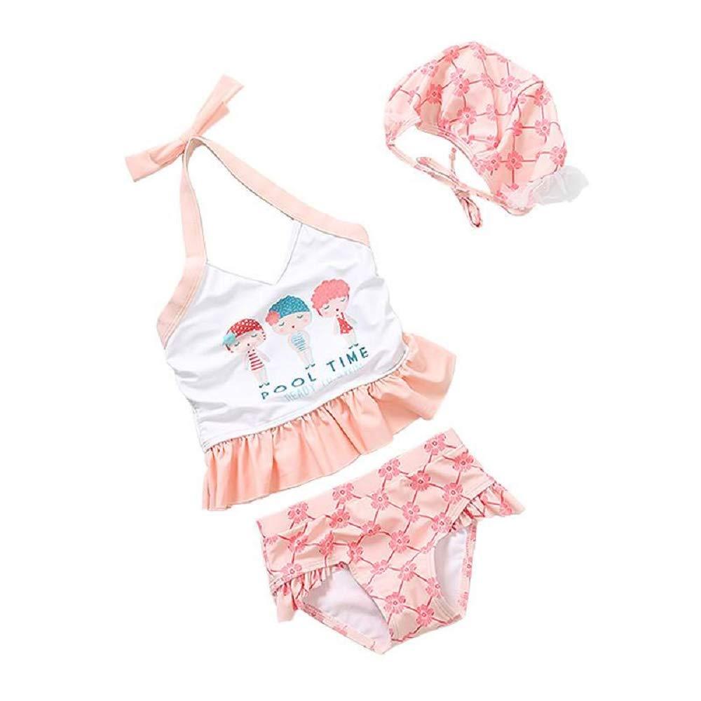 Yunqir Kids Wetsuit 3 Pcs/Set Children's Short Split Swimsuits Kids Letter Printing Sunscreen Wetsuit for Water Sports(Pink)
