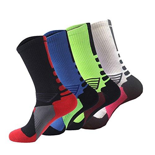 Ehdching 4 Pack Men's Dri-Fit Cushion Basketball Athletic Sport Peformance Crew Socks (4 Pairs, Style 2)