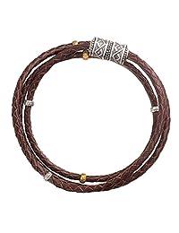 "Silpada'sterling Silver, Brass, and Genuine Leather Multi-Purpose Bracelet, 29"""