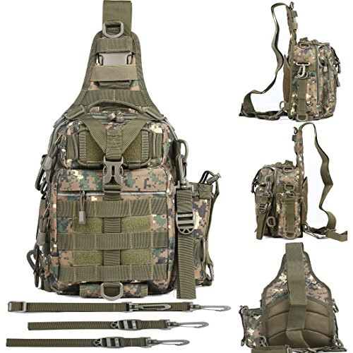BLISSWILL Outdoor Tackle Bag Multifunctional Water-Resistant Fishing Bag Single Shoulder Bag Digital Woodland Camo Crossbody Fishing Bag Fishing Gear Storage Bag Backpack for Fishing(Camo)