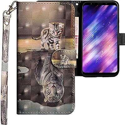 CLM-Tech Funda para Xiaomi Redmi 5 Plus, Carcasa Cuero sintético, Flip Case con Soporte y Ranuras para Tarjetas, Gato Tigre Gris: Amazon.es: Electrónica