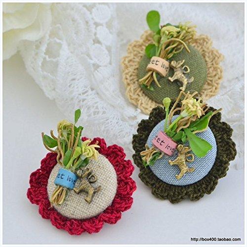 Korea imports Sen Department literary cotton wool crochet flowers bunch bunny round pin brooch 330