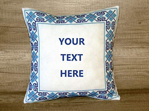 Customized Decorative Pillows Navy Blue Square Pillow Zippered Throw Covers Personalized Cushuion Cover Cases Custom Cushions for Grandma Mom Accent Embroidered Handmade Embroidery Cross Stitch Décor - Needlepoint Accent Pillow